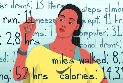 woman tracking fitness stats
