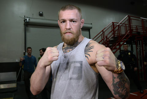 Conor McGregor posing for UFC fight photo