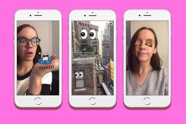 Snapchat pinned text and emojis