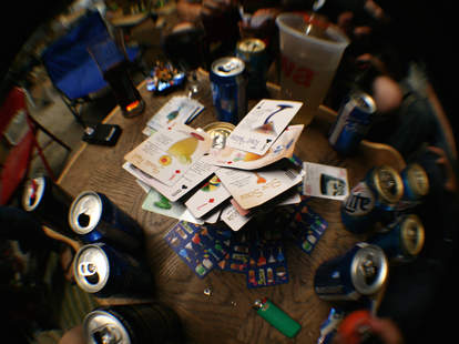 cards on a beer can
