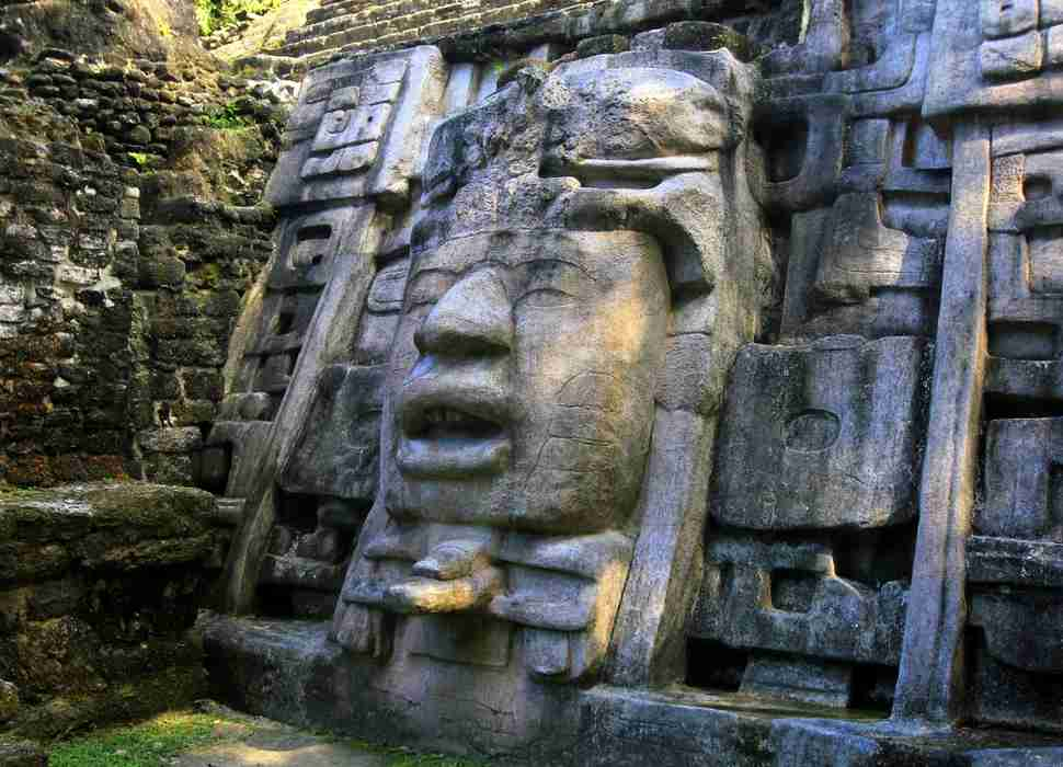 Mask Temple in Lamanai, Belize