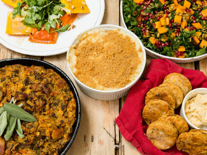 Trader joe's Thanksgiving side dishes easy grocery store bought stuffing ravioli pumpkin squash