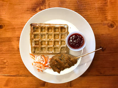 HALF PEACH FRIED MUSHROOMS DRUMSTICK AND WAFFLE