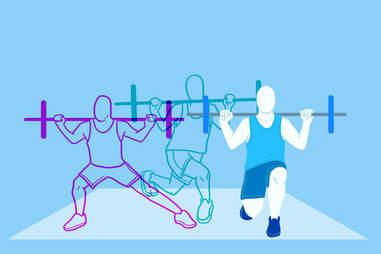 three-way barbell lunge