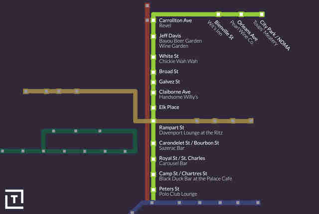 Streetcars In New Orleans Map.Best Bars In New Orleans To Drink Near Streetcar Stops Thrillist