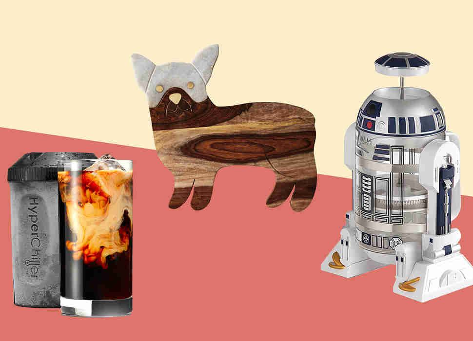 Frenchie cutting board, R2-D2 coffee maker, HyperChiller