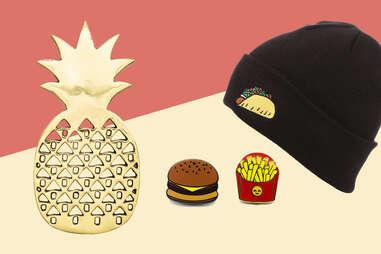 Taco beanie, pineapple trivet, and burger & fries pins