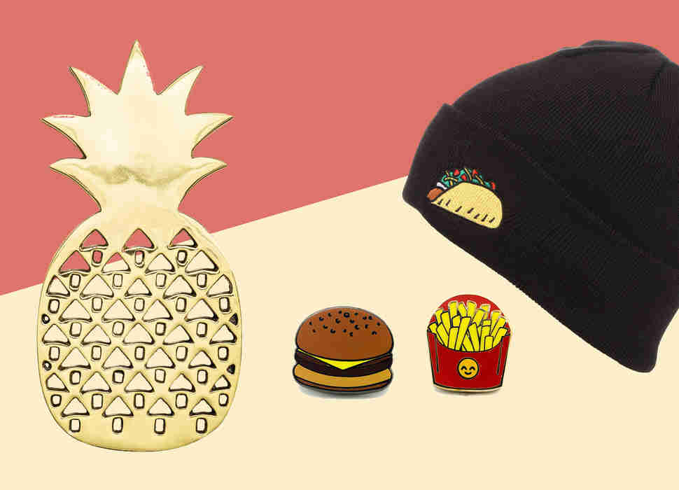 Taco beanie, pineapple trivet, and burger & fries pins