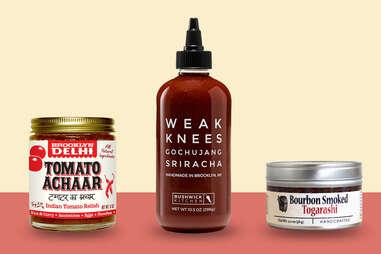 Tomato Achaar, Sriracha sauce, and Bourbon Smoked Togarashi