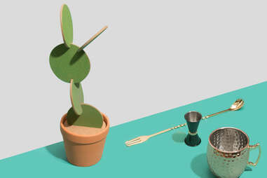Cactus coasters, Gold trident barspoon, jigger, Copper party cup