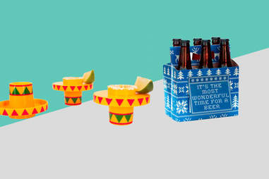 six-pack greeting card and sombrero shot glasses
