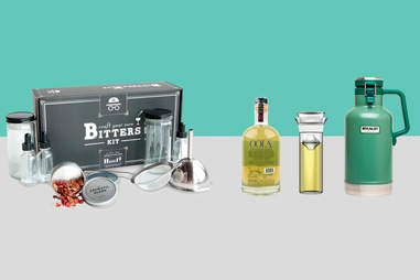 Craft your own bitters kit, rosemary vodka, Classic growler