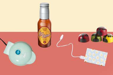 Mini-waffle maker, portable phone charger, ladybug chocolates, Lil' Lager baby bottle