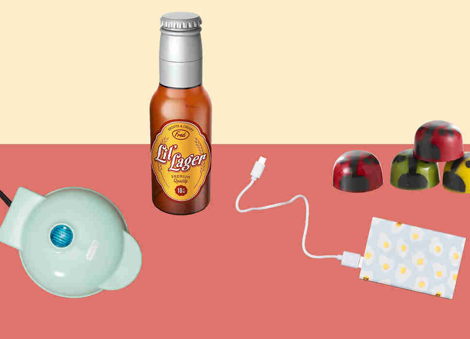 Mini-waffle maker, portable phone charger, ladybug chocolates, Lil' Lager baby bottle
