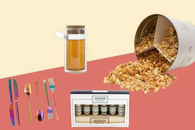 Caramel corn, rainbow flatware, salt gift set, Ora tea pot