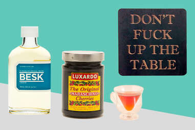 Besk Liqueur, Luxardo cherries, Don't fuck up the table coasters