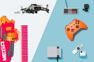Nerf N-Strike Mega Mastodon Blaster, Parrot Mambo, NES Classic Edition, GoPro, XBox custom controllers, mobile projector