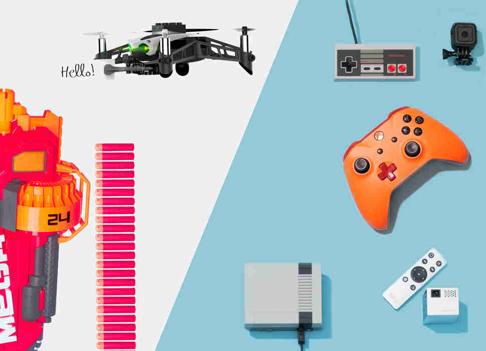Nerf N-Strike Mega Mastodon Blaster, Parrot Mambo, NES Classic Edition, GoPro, XBox custom controllers, mobile projector