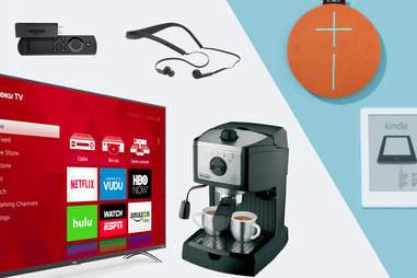 HD Roku Smart TV, Amazon Fire TV stick, Halo wireless headset, Bluetooth speaker, Kindle, espresso maker