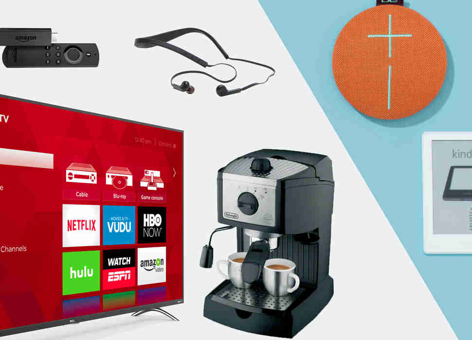 HD Roku Smart TV, Amazon Fire TV stick, Halo wireless headset, Bluetooth speaker, Kindle, espresso maker