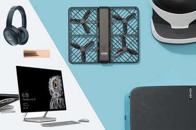 Microsoft Surface Studio, Bose headphones, Pax 3 vape, Hover Camera, Playstation VR, Sonos Play 5