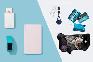 Fitbit, mobile printer, powerstation chargers, Key cable, Global sim card, olloclip iPhone 7 Macro Pro Lens Set