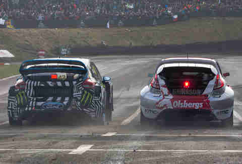 Ken Block, on the left, at World RallyCross in Germany