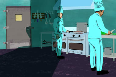 Chef shadow in kitchen