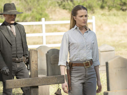 dolores and man in black on westworld finale