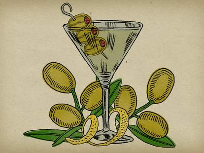illustrated Martini with olives