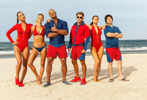 baywatch movie cast dwayne johnson zac efron alexandra daddario kelly rohrbach priyanka chopra