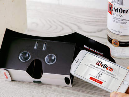 VR headset with Ketel One Vodka bottle