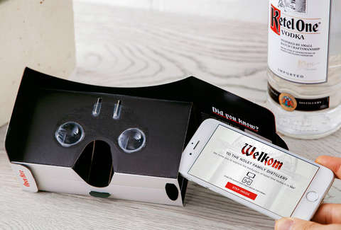 VR headset with Ketel One Vodka bottle