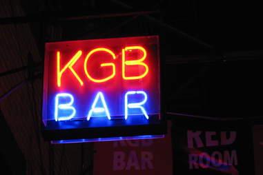 KGB fluorescent bar sign