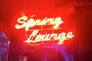 Spring Lounge fluorescent sign