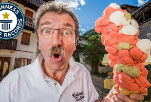 This Italian Guy Figured out How to Cram 121 Scoops in an Ice Cream Cone