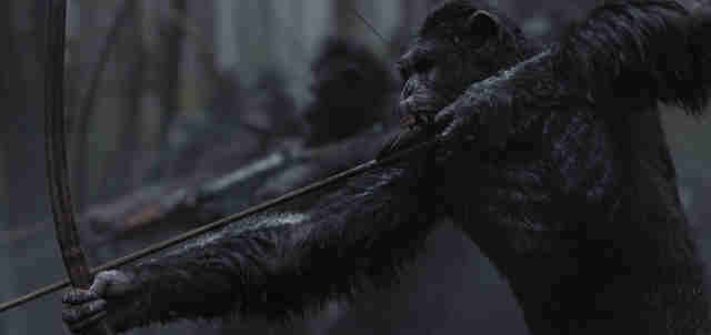 war of the planet of the apes ape with bow