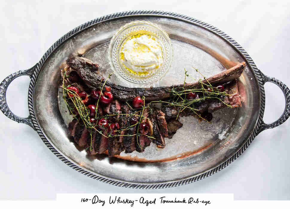 160-day, whiskey-aged tomahawk rib-eye