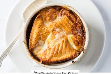 tartefette, sautéed onions