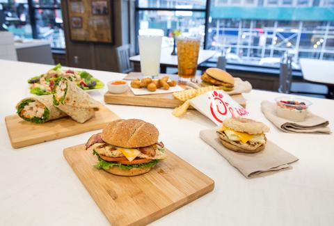 chick fil a lunch and breakfast menu items