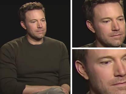 sad ben affleck during batman v superman interview