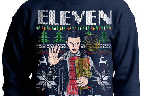 stranger things ugly christmas sweater, eleven