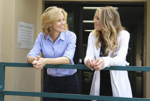 Kim Briggs and Elliot Reid on Scrubs sarah chalke elizabeth banks