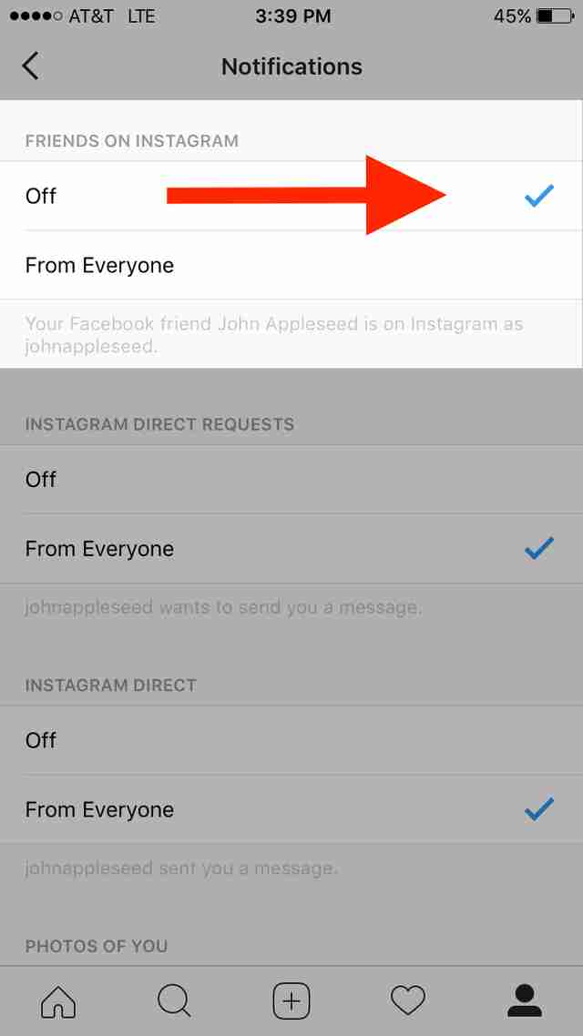 instagram settings page