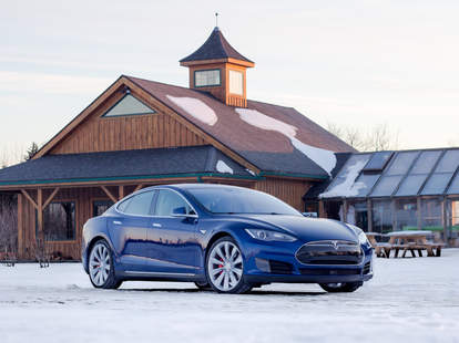 Tesla Model S in the Snow