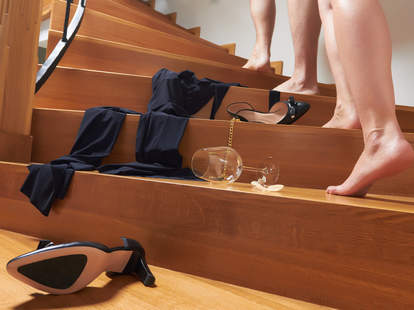 couple walking up the stairs to have sex
