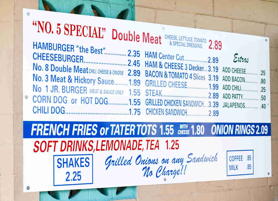 Keller's Drive-In Menu