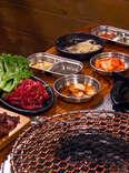 Beef platter and banchan at Jongro Korean BBQ in New York
