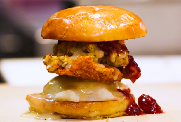 You Don't Have to Wait 'Til Thanksgiving to Try This Thanksgiving-Themed Fried Chicken Sandwich