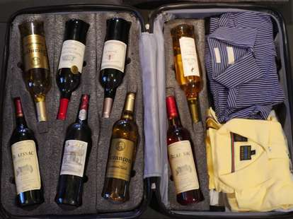 booze packed in a suitcase